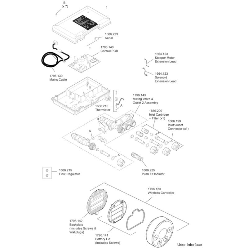 Mira Platinum Dual Outlet HP Mixer Valve