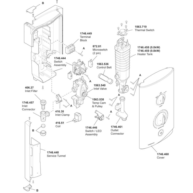 New Mira Sport Thermostatic 9.0 & 9.8 kW (J03I/J)
