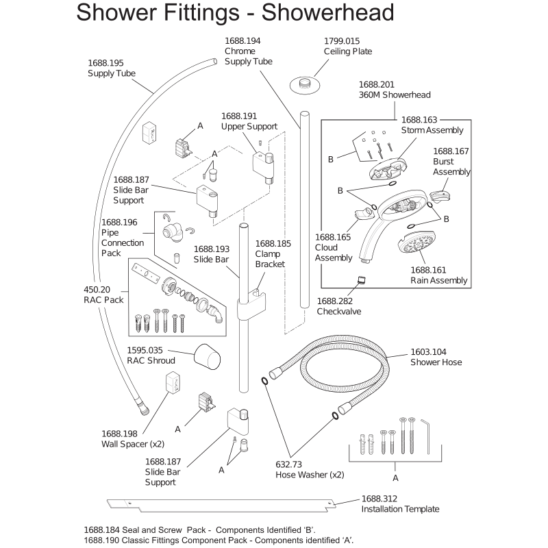 Mira Platinum Ceiling Fed (Mains) Parts and Spares - Shower Fittings - The Shower Doctors