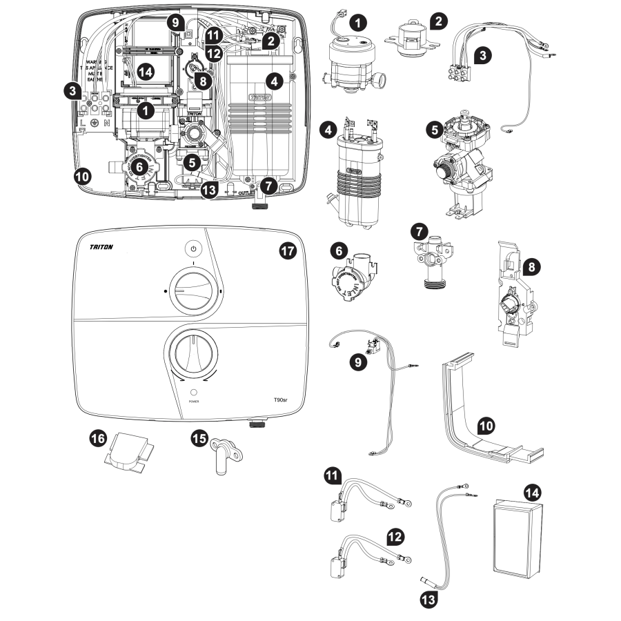 Triton T90 SR Parts and Spares - The Shower Doctors